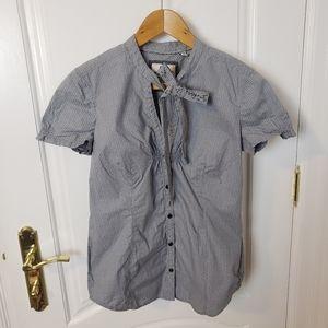 Esprit Button Up Blouse w Bow Tie & Cap Sleeves